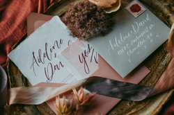 White and gray envelope calligraphy