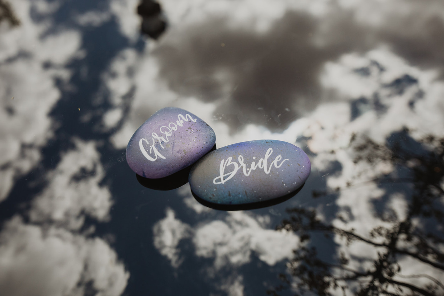 Bride and Groom Painted Rock Place Cards