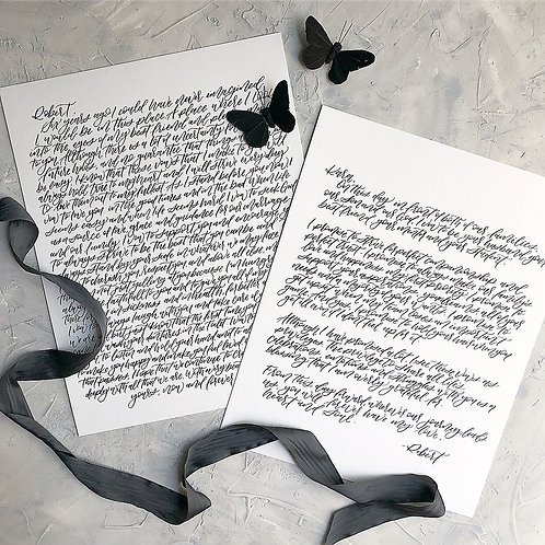 Calligraphy Vow Set- 11x14