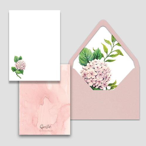 Blush Hydrangea Stationery Set of 10