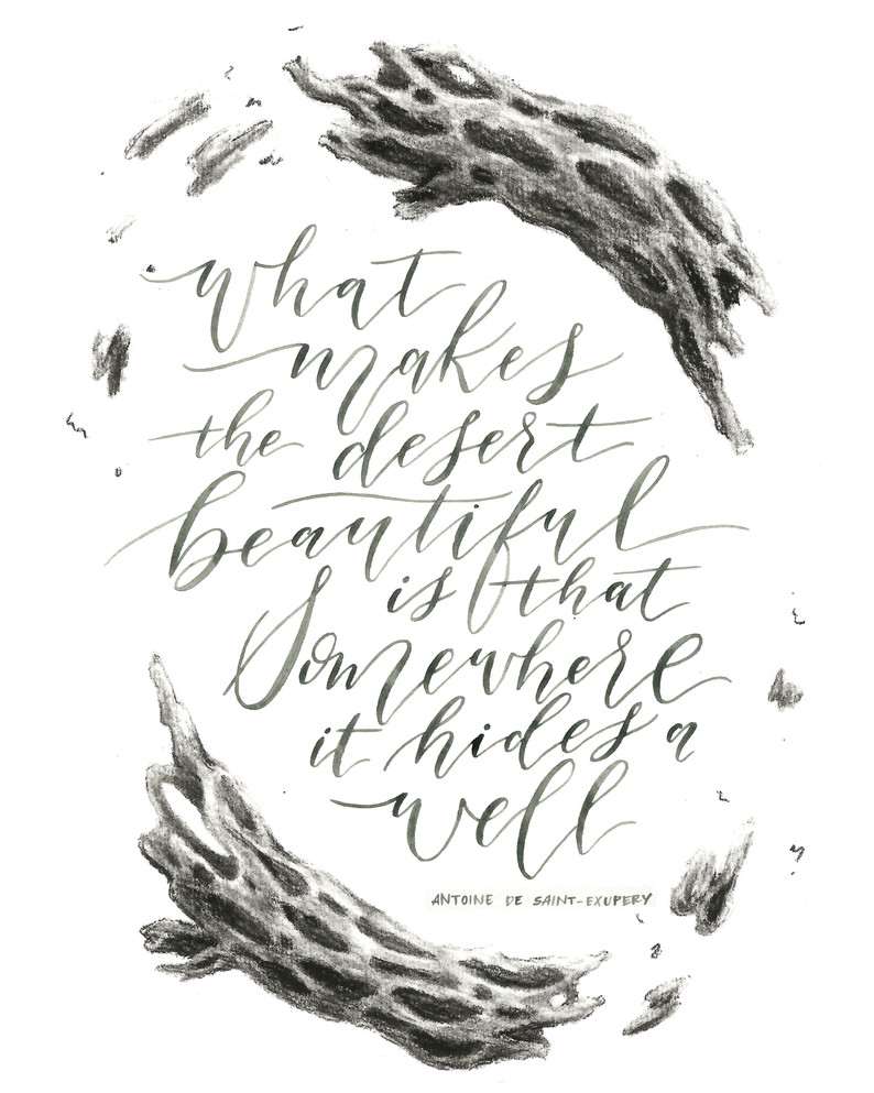 Desert calligraphy quote.