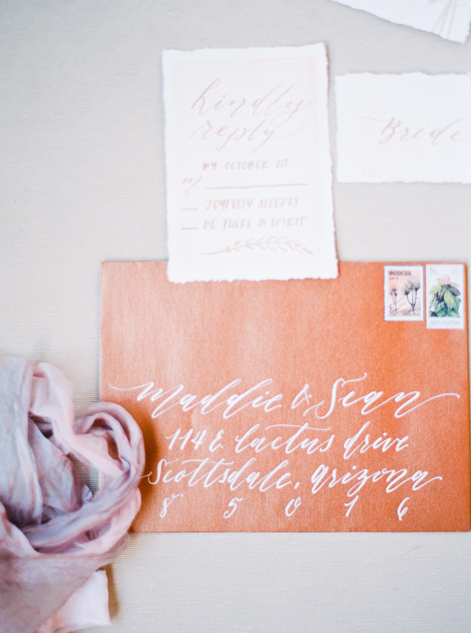 Copper and Blush invitation suite