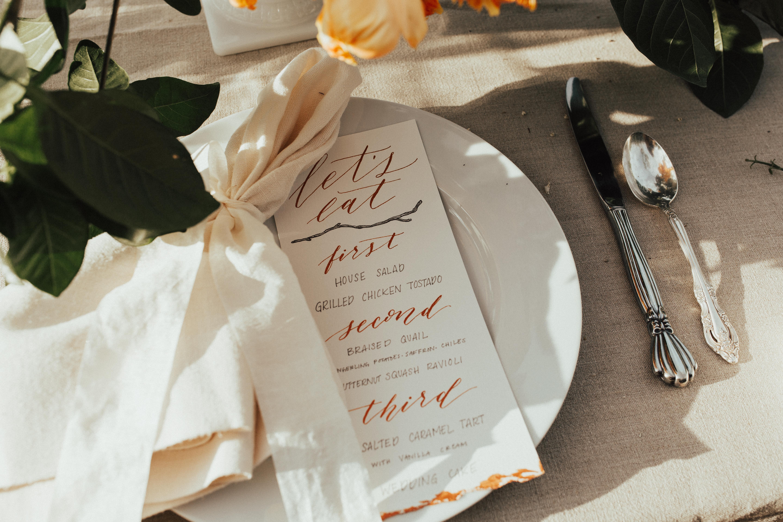 Copper wedding menu