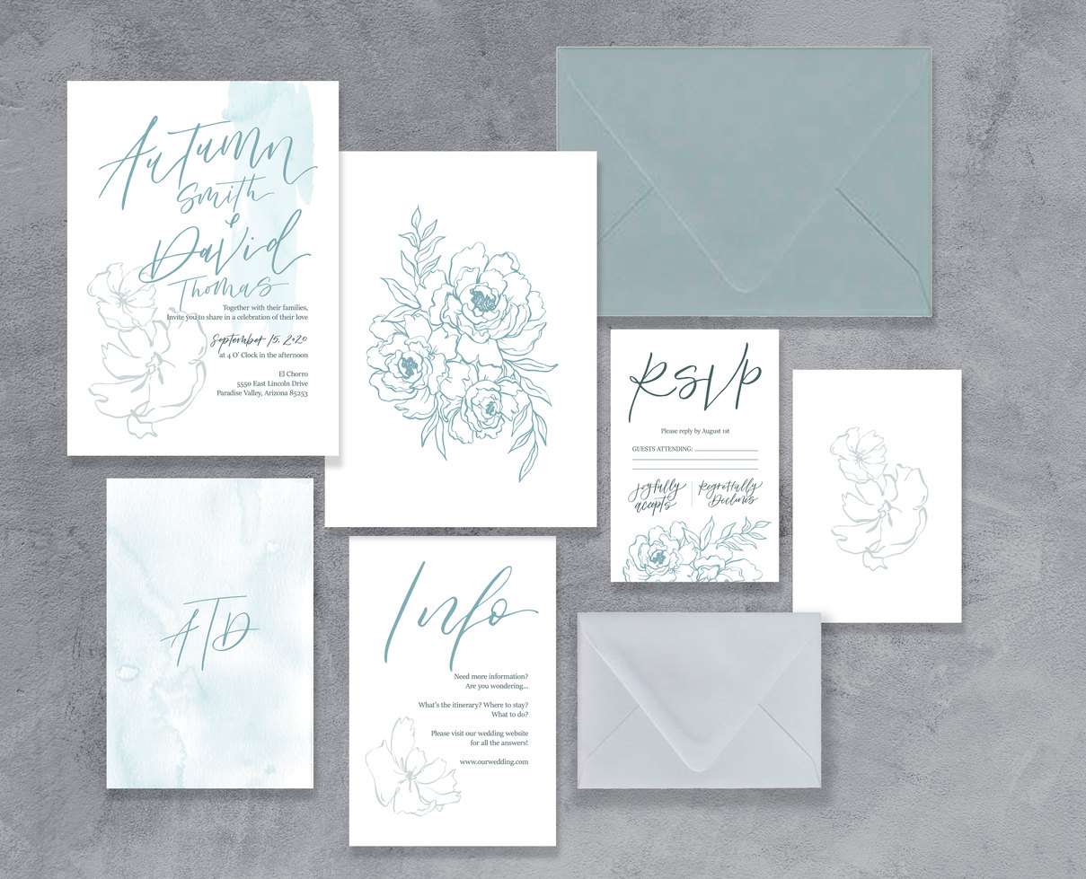 Dusty Blue floral wedding invitations