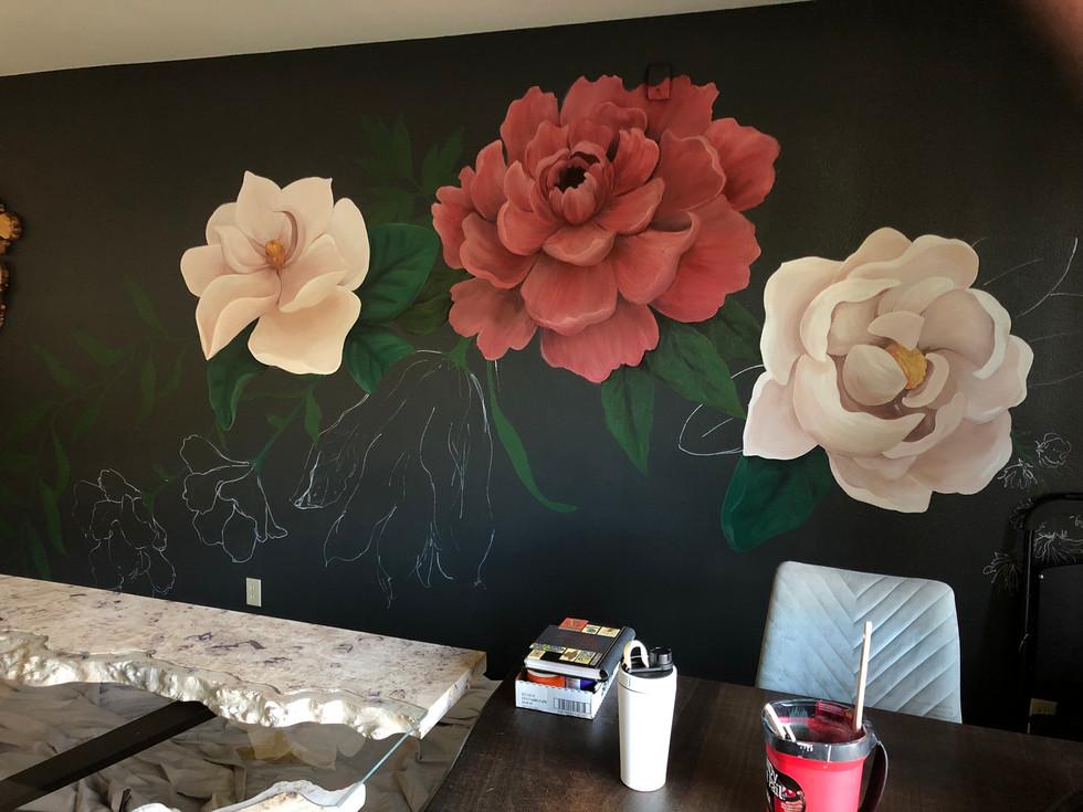 Floral Mural in progress