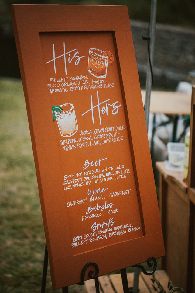 Wedding Drink Menu with Custom His and Hers Drinks