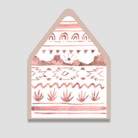 Pink desert pattern envelope liner alone