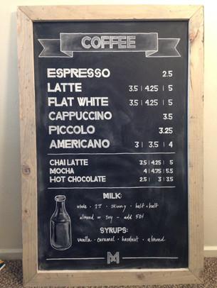 Chalkboard coffee shop menu