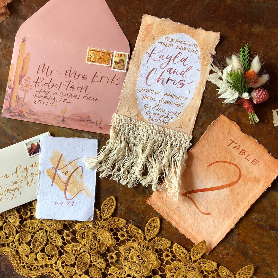 Boho and Fringe Wedding Invitation Suite