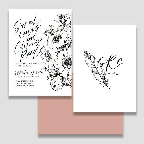 Monochrome Desert Invite + Envelope