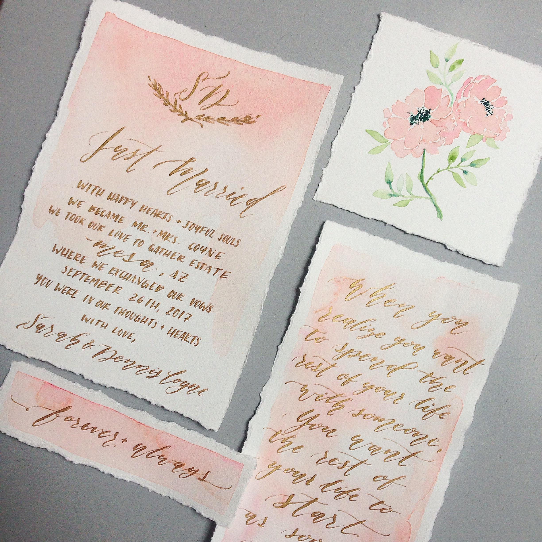 Calligraphy Elopement Announcement