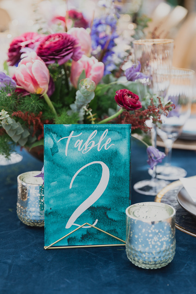 Blue and Teal Watercolored Table Number