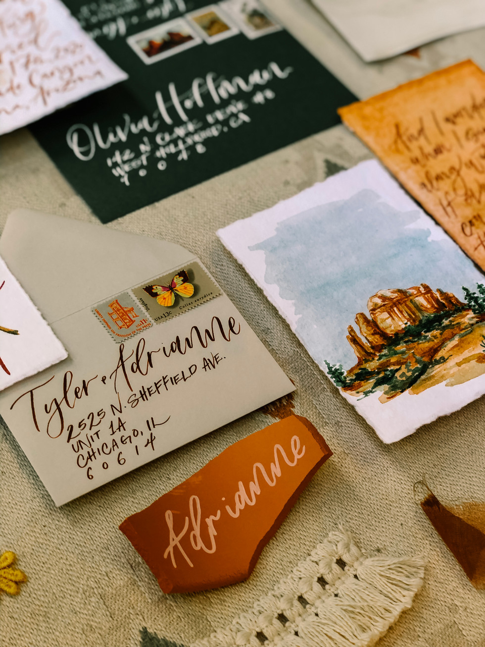 Wedding Invitation and Terracotta Place cards