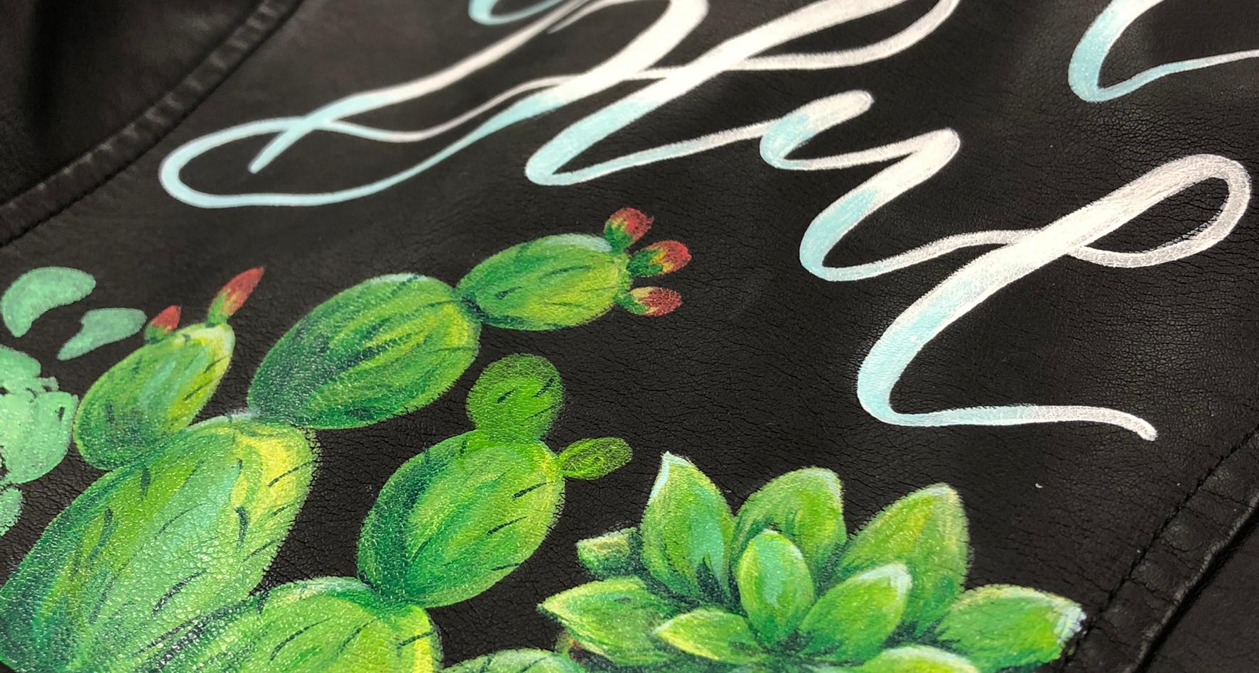 Painted Leather Jacket - Cactus