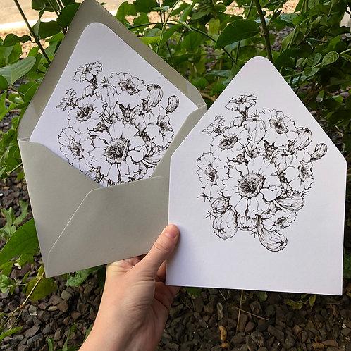 Black + White Saguaro Envelope Liner