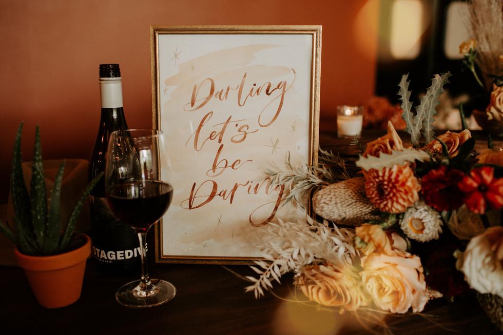 """Darling Let's be Daring"" - Wedding sign"