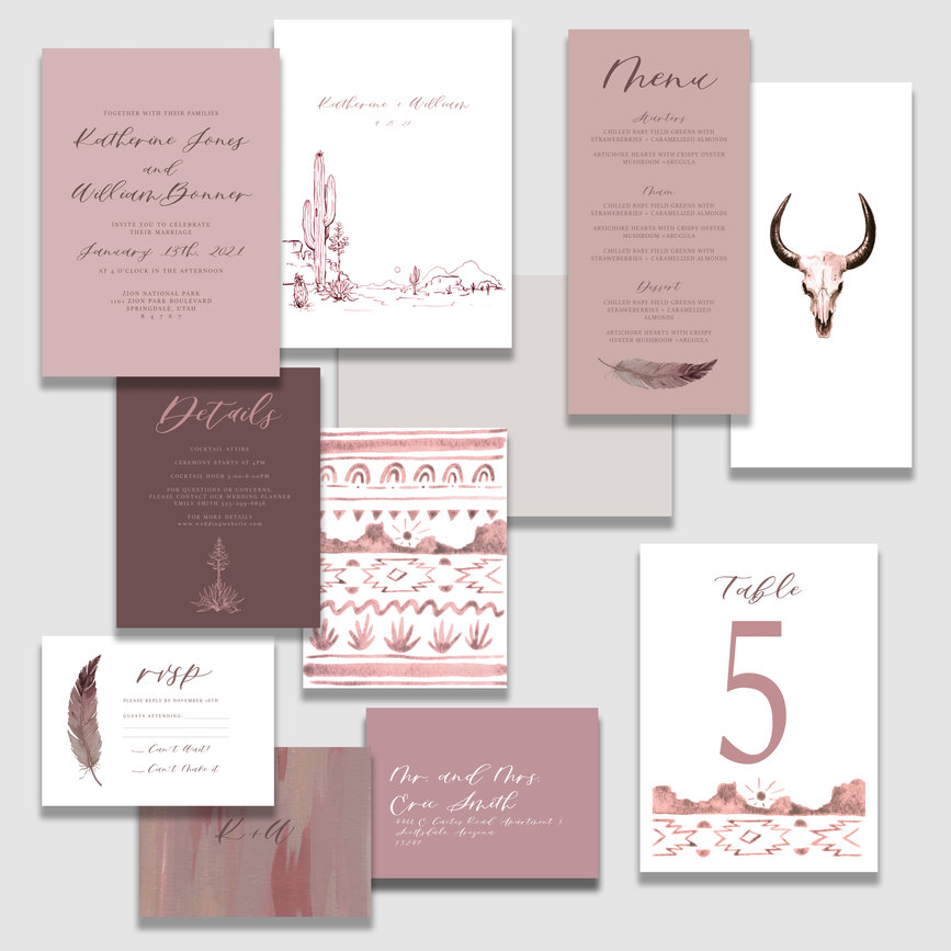 Pink Desert suite FLAT LAY with table nu