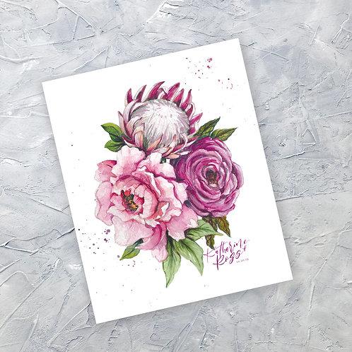 "Custom painted Floral Bouquet- 9x12"" Original Artwork"