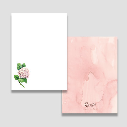 Watercolor Hydrangea Stationery Set of 10