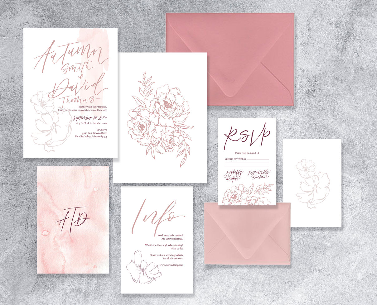 Dusty Rose Floral wedding invitations