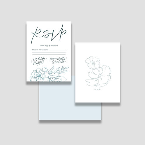 Dusty Blue Floral RSVP + Envelope