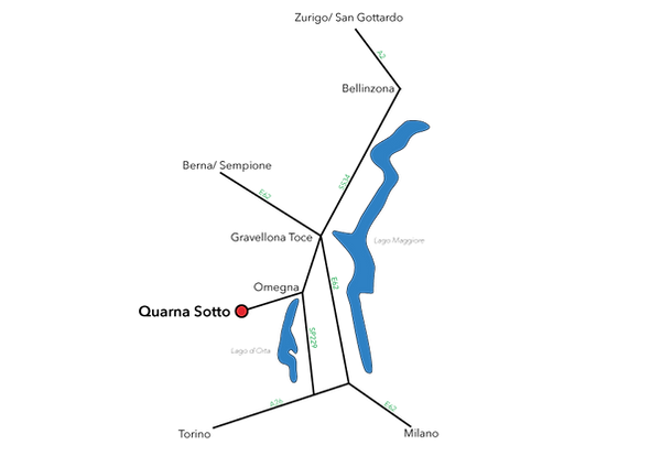 Karte Anfahrt Quarna Sotto