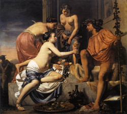 1670 Nymphs Offering the Young Bacchus Wine, Fruit and Flowers