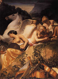 1650 The four muse with Pegasus