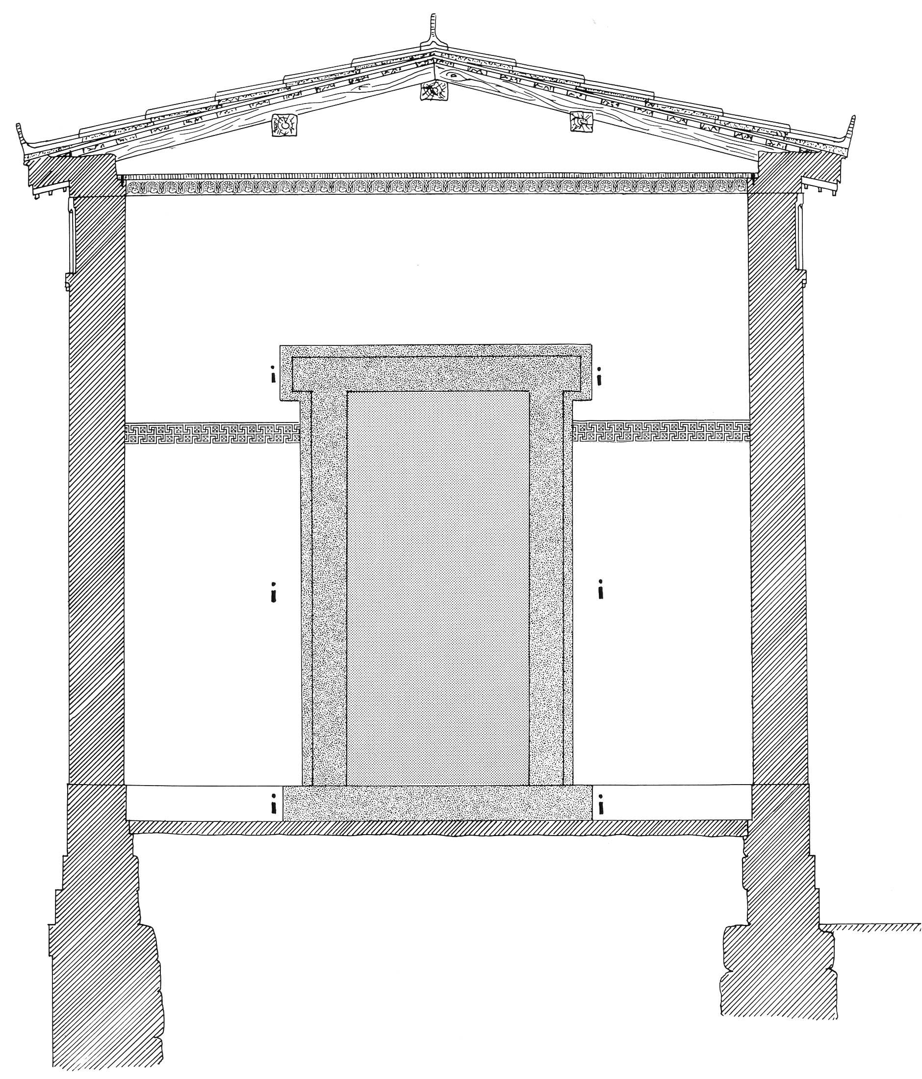 mur Pronaos  avec décor anthemion