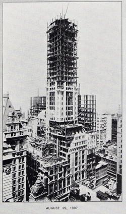 the singer building under construction august 1907