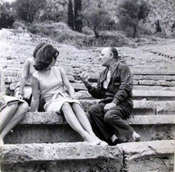 Jackie Kennedy Onassis with theatre director and playwright Alexis Solomos in Delphi