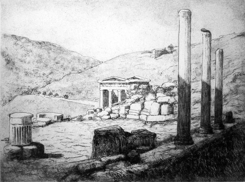 Λυκούργος Κογεβίνας, 1924, Δελφοί, άποψη Θησαυρού των Αθηναίων