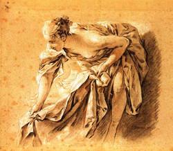 Femme demi-nue se penchant
