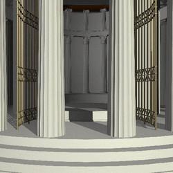 tholos, perspective sur la cella