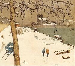 Quai de la Tournelle sous la neige 1909