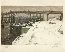 La passerelle de l'Estacade en hiver 1908