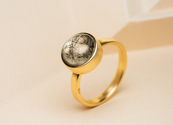 The Black Rutilated Quartz Ring