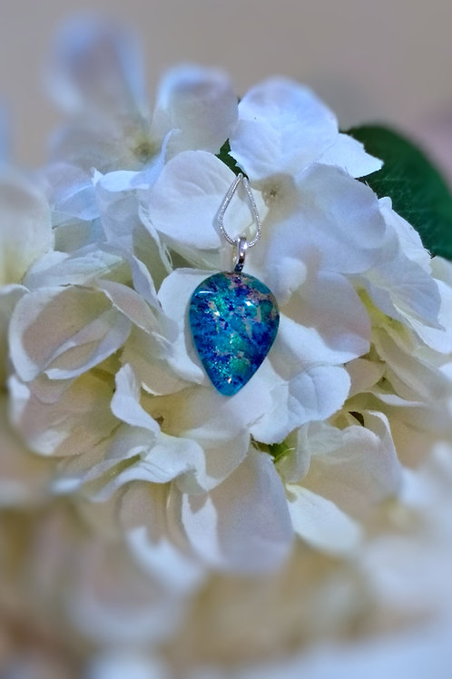 Apatite 209 - Hand Painted Glass Jewelry Pendant and Necklace