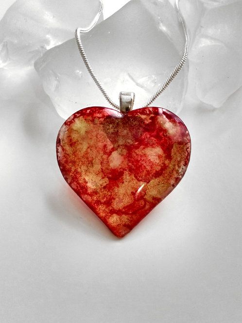 Strawberry Champagne 47 - Hand Painted Glass Heart Pendant and Necklace