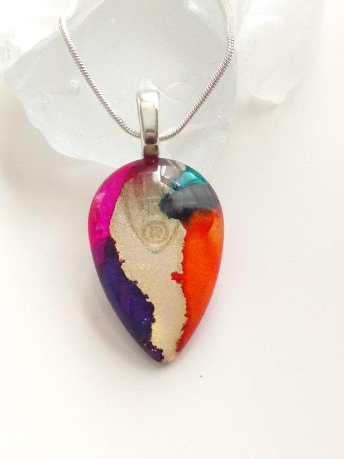 Glass Jewelry Pendant - Rainbow Waterfall 24