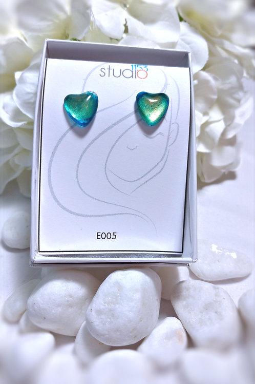 Earrings E005 - Hand painted glass cabochon earrings