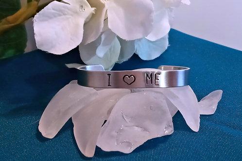 Hand Stamped Aluminum Cuff Bracelet - I Love Me