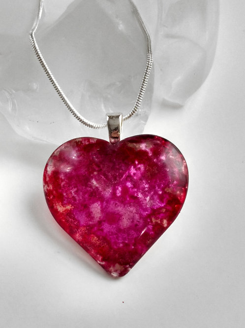 Sparkle with All Your Heart 55 - Hand Painted Glass Heart Pendant and Necklace