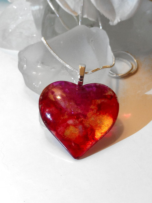 Oribelle Rose 76 - Hand Painted Glass Heart Pendant and Necklace