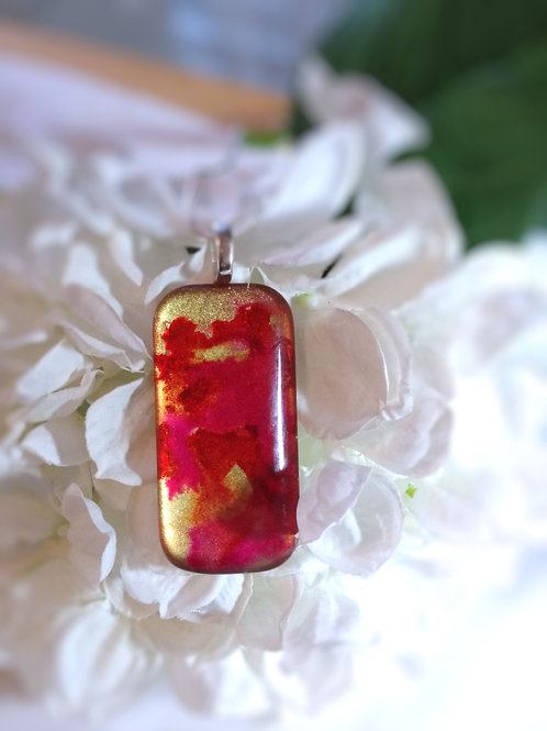 Dancing Poppies 153 - Hand Painted Glass Jewelry Pendant and Necklace