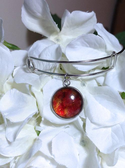 Sunshine B018 - Hand painted glass cabochon bracelet