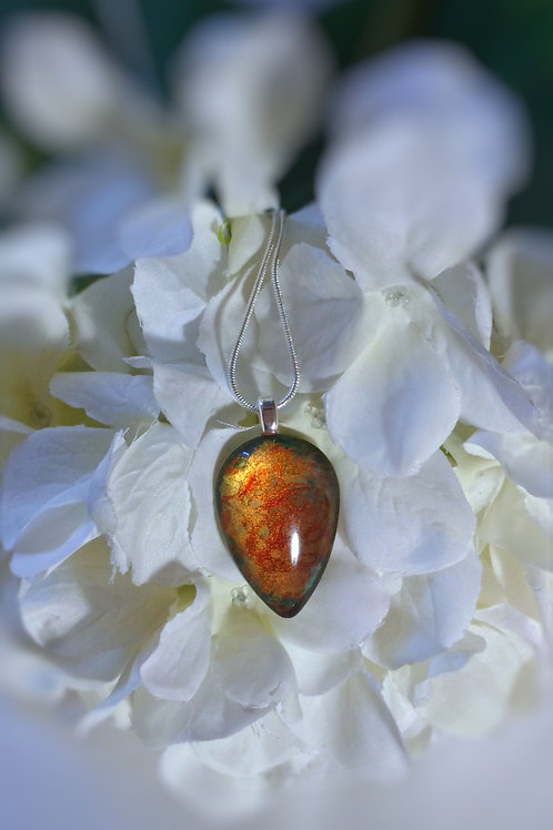 Copper Sparks 208 - Hand Painted Glass Jewelry Pendant and Necklace