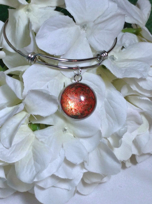 Radiant B028 - Hand painted glass cabochon bracelet