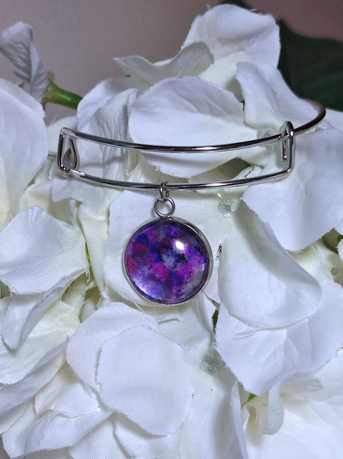 Empower B016 - Hand painted glass cabochon bracelet
