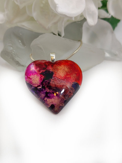 Passion 124 - Hand Painted Glass Jewelry Pendant
